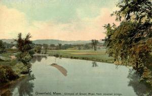MA - Greenfield. Green River showing Sandbar from Covered Bridge
