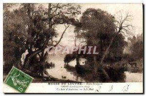 Old Postcard Louvre Museum Ecole Francaise Louis Cabat 1812 1893 un Soir d'Au...