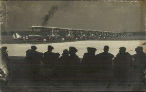 Military Airplanes Airmen w/ Planes Biplanes c1930s-40s Unidenitifed RPPC G19