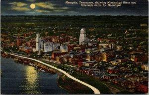 Memphis Tennessee Riverside Drive Mississippi River Moonlight Vintage POSTCARD
