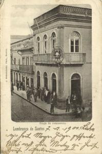 brazil, SANTOS, Praca do Commercio (1900) Bidschovsky