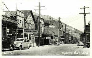Virginia City, Nevada, Street Scene, Cars, Shops (1950s) RPPC Postcard