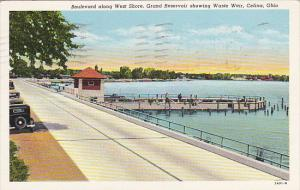 Ohio Celina Boulevard Along West Shore Fishing At Grand Reservoir 1944 Curteich