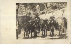 Colorado Springs CO Tourists on Burros Donkeys c1910 Real Photo Postcard