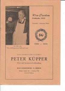 MC-149 - 1953 Peter Kupper, Wine Pricelist Fruhjahr 50th Anniversary 1901-51