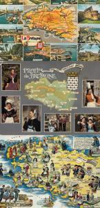 La Bretagne 3x Stunning French Fashion Custom Map Plage Postcard s