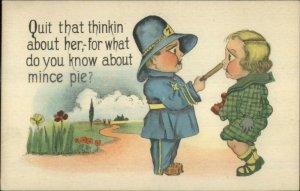 Little Boy Police Officer Cop Shoves Billy Club in Boy's Face c1915 Postcard