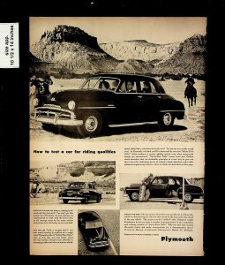 1951 Plymouth Test a Car for Riding Qualities Vintage Print Ad 015703