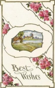 Pretty Pink Country Rose Country Cottage Lake Scene Vintage Postcard Best Wishes