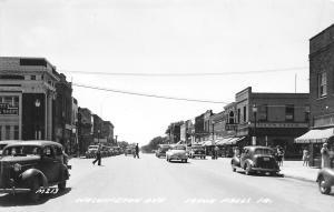 Iowa Falls IA~Washington Avenue~Piggly Wiggly~Princess Cafe~Ice Cream~1940s RPPC