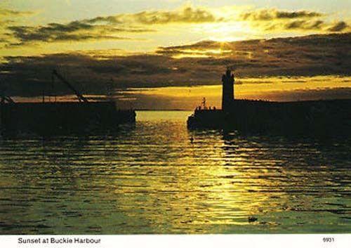 Buckie Harbour Scotland Sunset Postcard