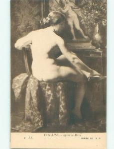 Pre-Linen Risque NUDE WOMAN SITTING ON CHAIR AB6027