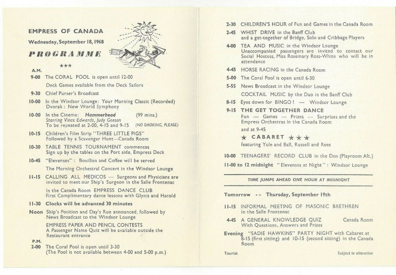 CANADIAN PACIFIC, Empress of Canada, Bi-fold, Programme, 9/18/1968