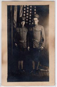 RPPC, Soldiers Standing Infront of American Flag