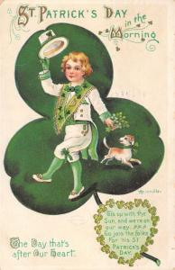 Heinmuller St Patrick's Day~Irish Boy & Puppy Dog Dance on Shamrock~Emboss~IAPC
