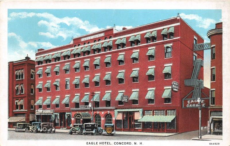 Concord New Hampshire~Eagle Hotel~Book Store~Parked Cars~1920s Postcard