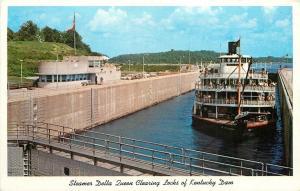 Kentucky~Steamer Delta Queen Clearing Locks Of Dam~1960 Postcard