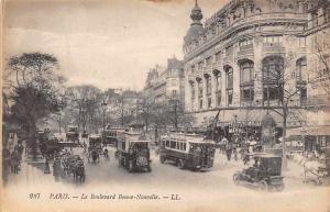 France Paris - Le Boulevard Bonne-Nouvelle, tramways, trams, cars CPA