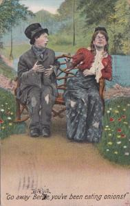 Bamforth Couple Sitting On Bench Go Away Birdie You've Been Eating Onions 1910