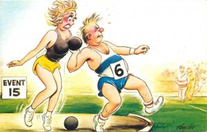 Comic Humour, Taylor Signed Funny Sportsman woman brest weights thrower