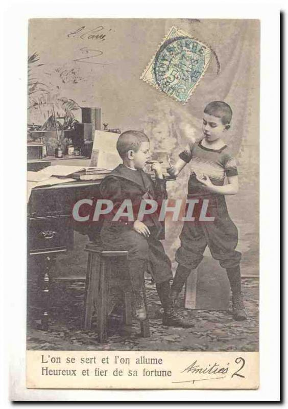Vintage Postcard Fantaisie One is helped and one lights happy and proud his for