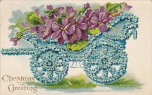 CHRISTMAS; Greetings, Carriage of Forget-Me-Not Flowers carrying Violets, P...