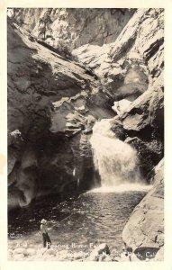 RPPC Roaring River Falls, Kings Canyon Nat'l Park, CA Fisherman c1940s Postcard