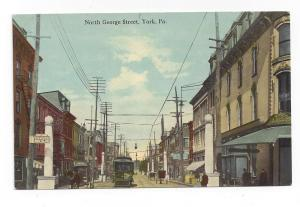 York PA George St Trolley Car Danger Run Slow Sign Postcard
