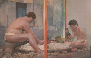 HAWAII, 40-60s; Wax figures of man and boy Pounding Poi