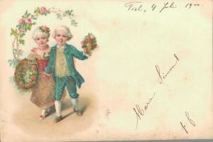 Romantic Couple - Vintage postcard - 1900 Litho 02.81