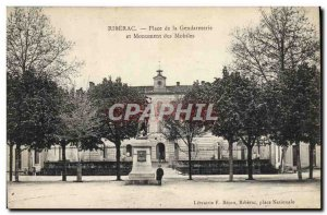 Old Postcard Riberac Square Gendarmerie and mobile monument