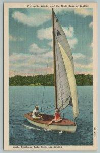 Kentucky~Couple On Sail Boat On Lake~Vintage Postcard