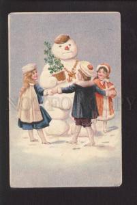073669 Embossed Charming SNOWMAN & Kids Vintage color PC