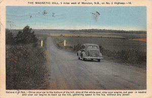 The Magnetic Hill, Near Moncton, N.B., Canada, Early Postcard, Used in 1939