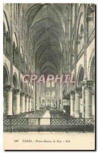 Old Postcard Paris Notre Dame Nave