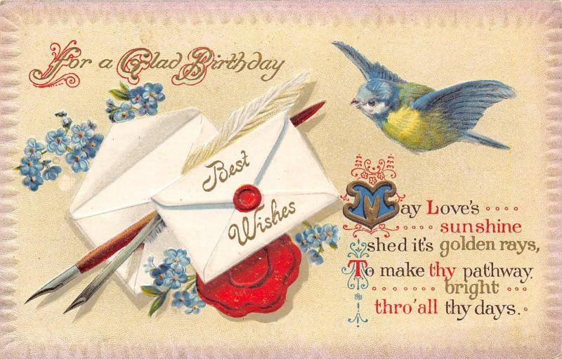 Blue Green Yellow Bird~Feather Quill Pens~Envelopes~Red Wax Seals~Emboss Border