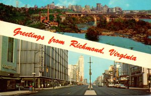 Virginia Richmond Greetings Showing Downtown Skyline and Downtown Shopping Di...