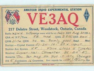 1930s QSL RADIO CARD Woodstock Ontario ON AH3199