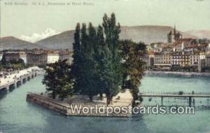 Geneve Swizerland, Schweiz, Svizzera, Suisse Ile JJ Rousseau et Mont Blanc  I...