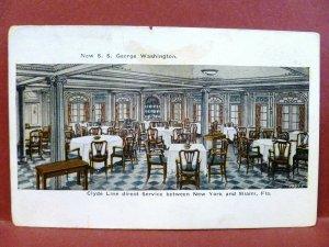 Postcard Interior Ship SS George Washington Clyde Line Between NY & Miami, FL