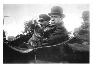 Postcard Mussolini with his pet Tiger Cub, a Gift from Aldo Finci c1925 BW18