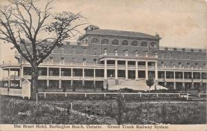 BURLINGTON BEACH ONTARIO CANADA~BRANT HOTEL-GRAND TRUNK RAILWAY STATION POSTCARD