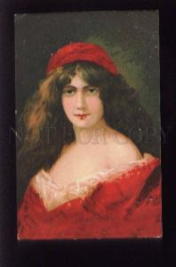 073556 Lady in RED by Angelo ASTI vintage Color LITHO RUSSIA