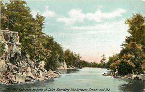 The Rift: Entrance to Lake of Isles~United States Canada Boundary~Fisherman~1910