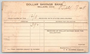 Bellaire Ohio~Dollar Savings Bank~Dickens~1914 Postal Receipt~Piper-Warnock OH