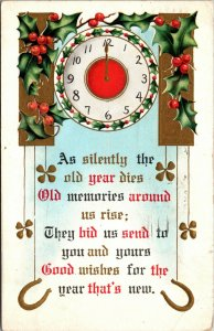 NEW YEAR - HORSESHOE - CLOCK HOLLY - VINTAGE - POSTCARD PC POSTED