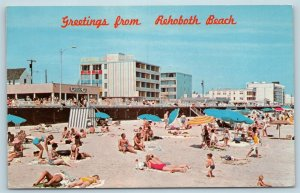 Postcard DE Rehoboth Beach View Atlantic Sands Motel Boardwalk Beach Vintage T10