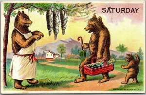 Artist-Signed W.S. HEAL Postcard SATURDAY Bear Family Picnic Scene 1908 Cancel