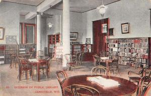 Janesville Wisconsin Public Library Interior Antique Postcard K28749