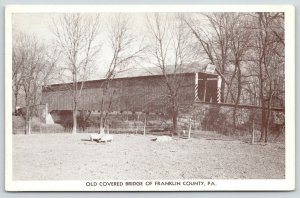 Baker Caverns Williamson Franklin County PA~Pigs Below Old Covered Bridge~c1950